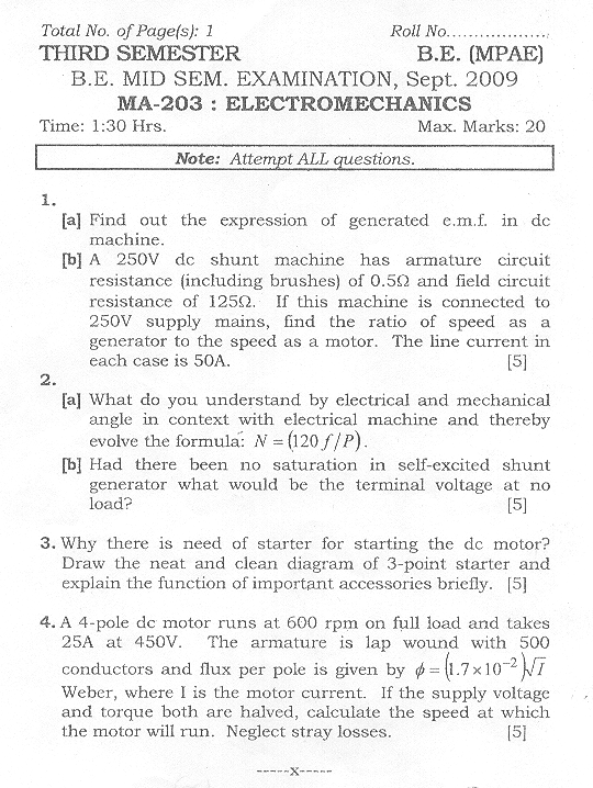 NSIT: Question Papers 2009 – 3 Semester - Mid Sem - MA-203