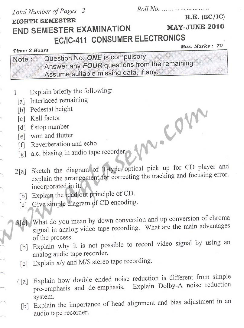 NSIT: Question Papers 2010 – 2 Semester - End Sem - EC-IC-411