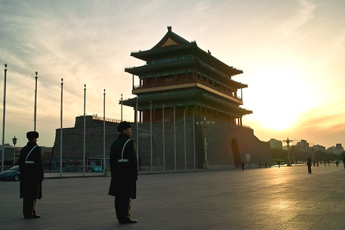 china sunset landscape beijing communist militarypolice tiananmensquare qianmen landscapephotography chinacapital chinesemilitarypolice communistmilitary