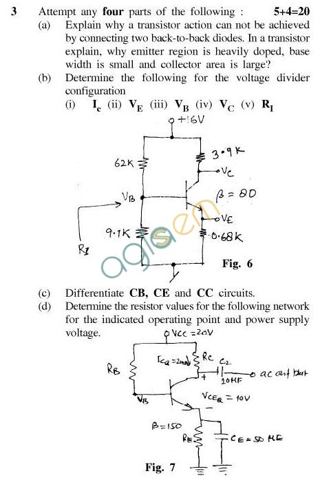 UPTU B.Tech Question Papers - TEC-201-Electronics Engg.