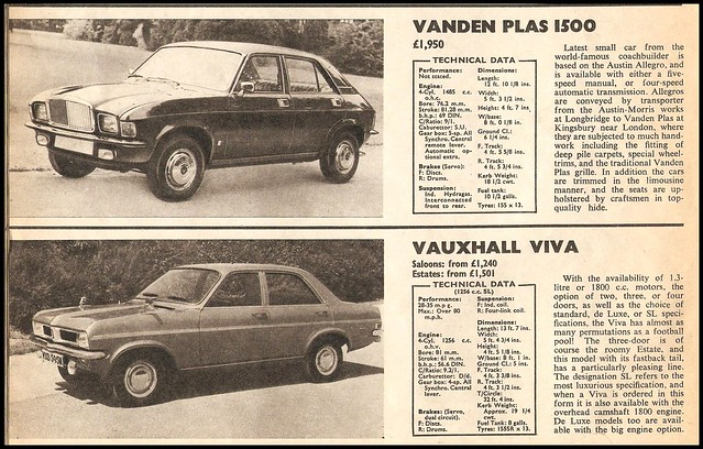 Vanden Plas & Vauxhall Prices  1974