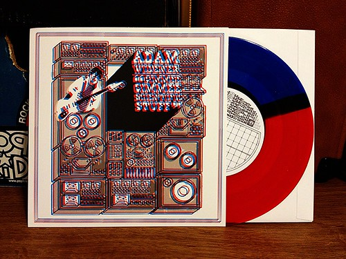 "Adam Widener - Gimmee Gimmee Scientific Stuff 7"" - Red/Blue Split Color Vinyl by Tim PopKid"