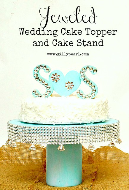 Jeweled Monogrammed Wedding Cake Topper and Cake Stand - The Silly Pearl