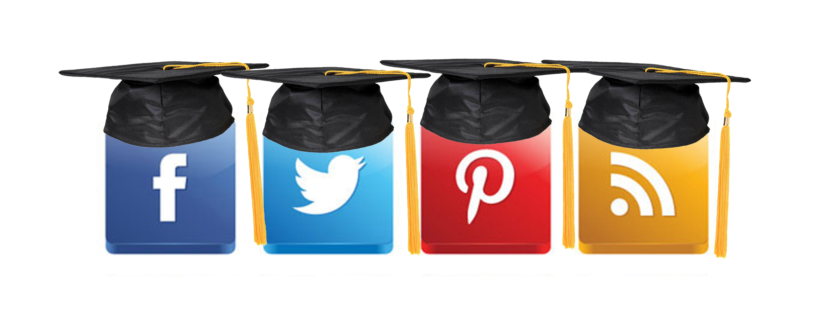 Logos in mortar boards: Facebook, Twitter, Pinterest, RSS
