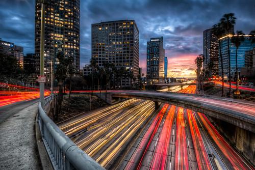 city bridge sunset rain night clouds losangeles downtown traffic 110 financialdistrict freeway hdr lightstreaks vigilantphotographersunite vpu2