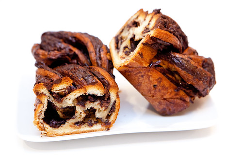 Breads Bakery chocolate babka, halved