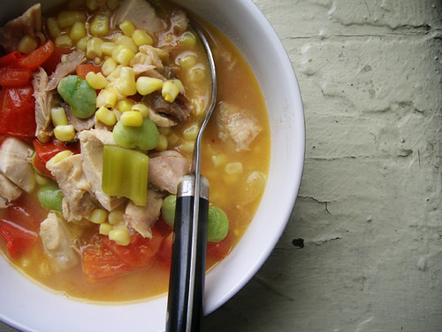 brunswick chicken stew with tomatoes, lima beans, and corn