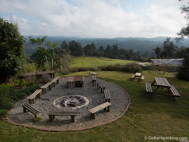 Outdoor fire pit and view from the breakfast area