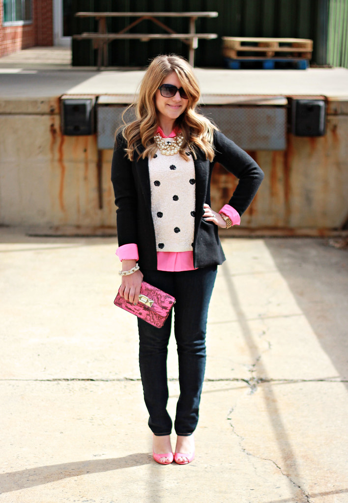 black and pink outfit idea, polka dot sequin top
