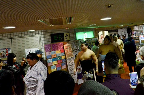 Sumo Wrestlers walking to the entry