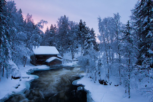 snow ice sunrise suomi finland river landscape rapids kuusamo northernostrobothnia