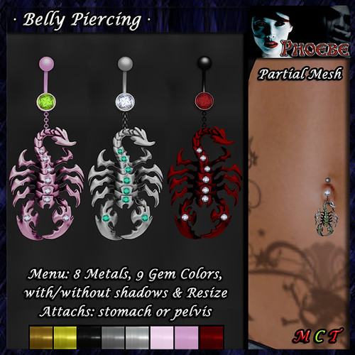 *P* Scorpion Belly Piercing ~8 Metals-9 Gems~ (P-MESH)