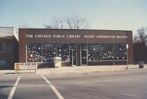 The original Chicago Public Library's Mount Greenwood branch location on South Kedzie Avenue.  Chicago Illinois.  December 1986. by Eddie from Chicago
