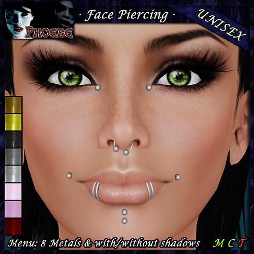P Unisex Face Piercing K8 ~8 Metals~