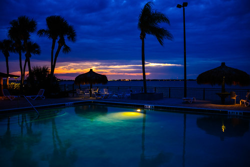 blue trees sunset beach water pool river evening bay coast purple unitedstates florida dusk melbourne palm deck fl melbournebeach fla blinkagain photographyforrecreation