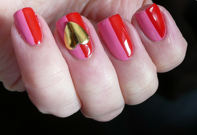 pink red large heart stud mani 2