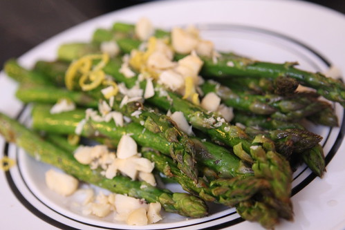 Roasted Asparagus with Lemon and Macadamia Nuts