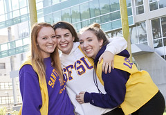 Students wearing SF State gear