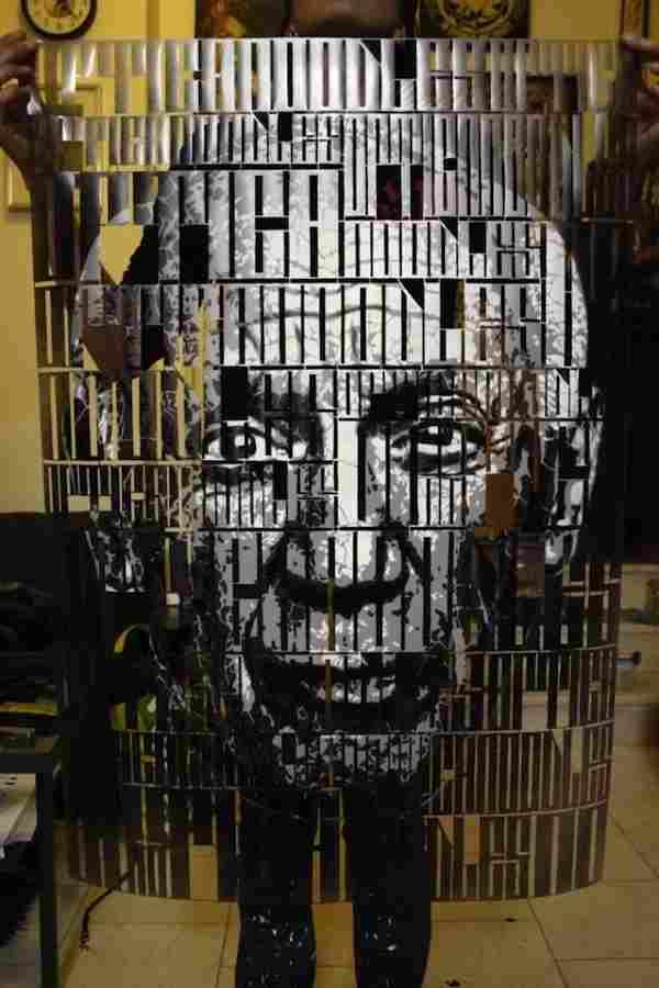 retratos de tipografia con stencil