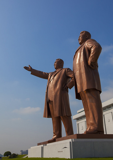The Two Statues Of The Dear Leaders In Grand Monument Of Mansu Hill, Pyongyang, North Korea