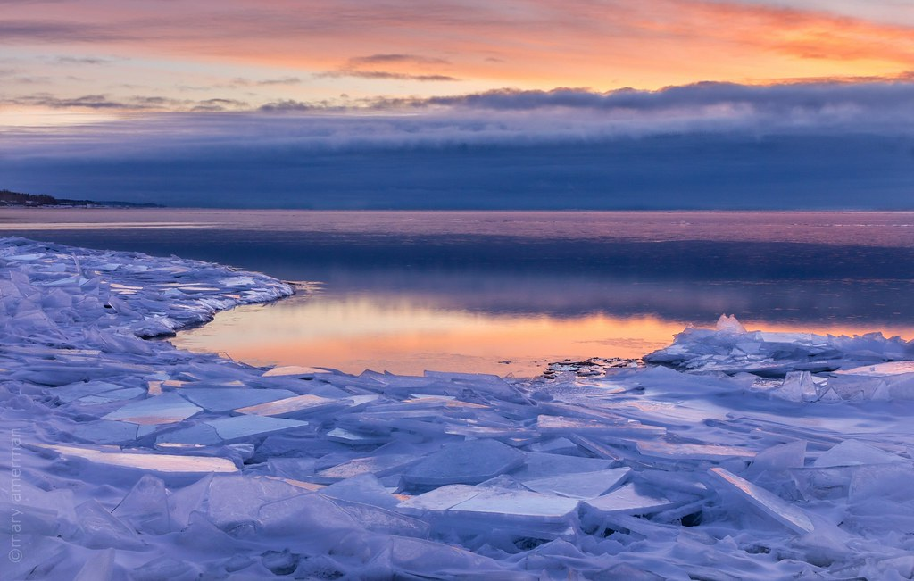icy sunrise on lake superior