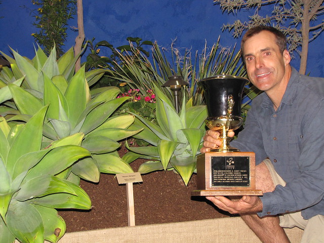 Gary Gragg and his patented Agave attentuatua 'Karas stripes'