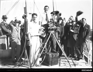 Ray Vaughan filming at a Movietone event in Circular Quay, Sydney