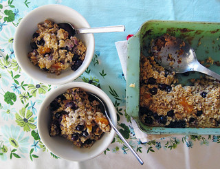 baked oatmeal with blueberries,coconut & dried apricots