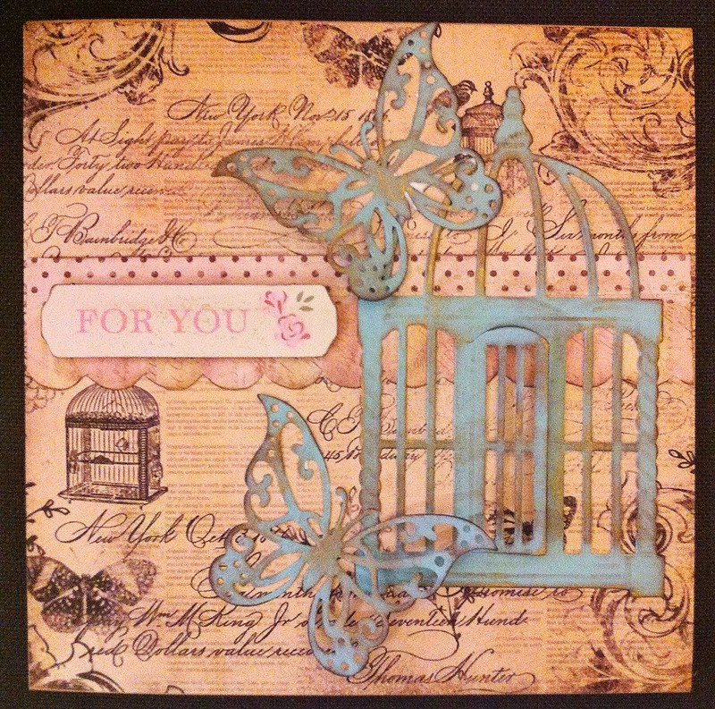Vintage butterfly birdcage card