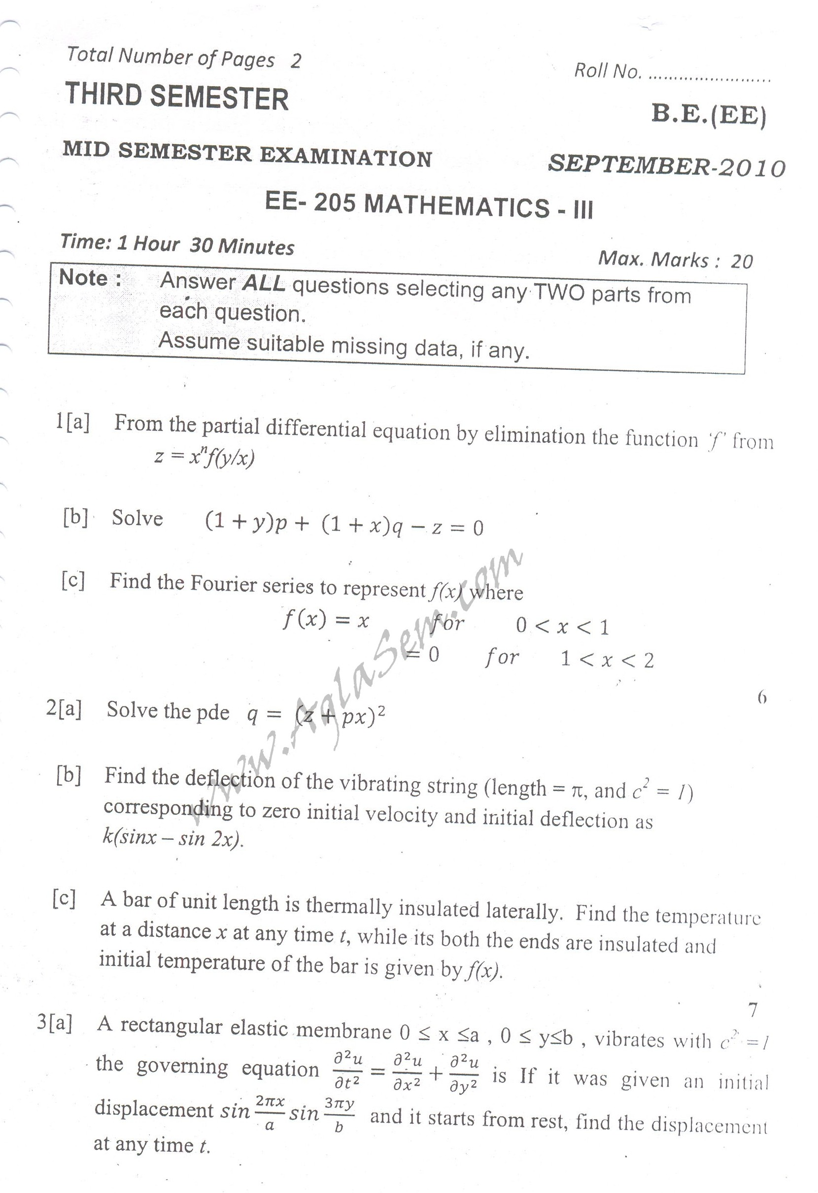 DTU Question Papers 2010 – 3 Semester - Mid Sem - EE-205