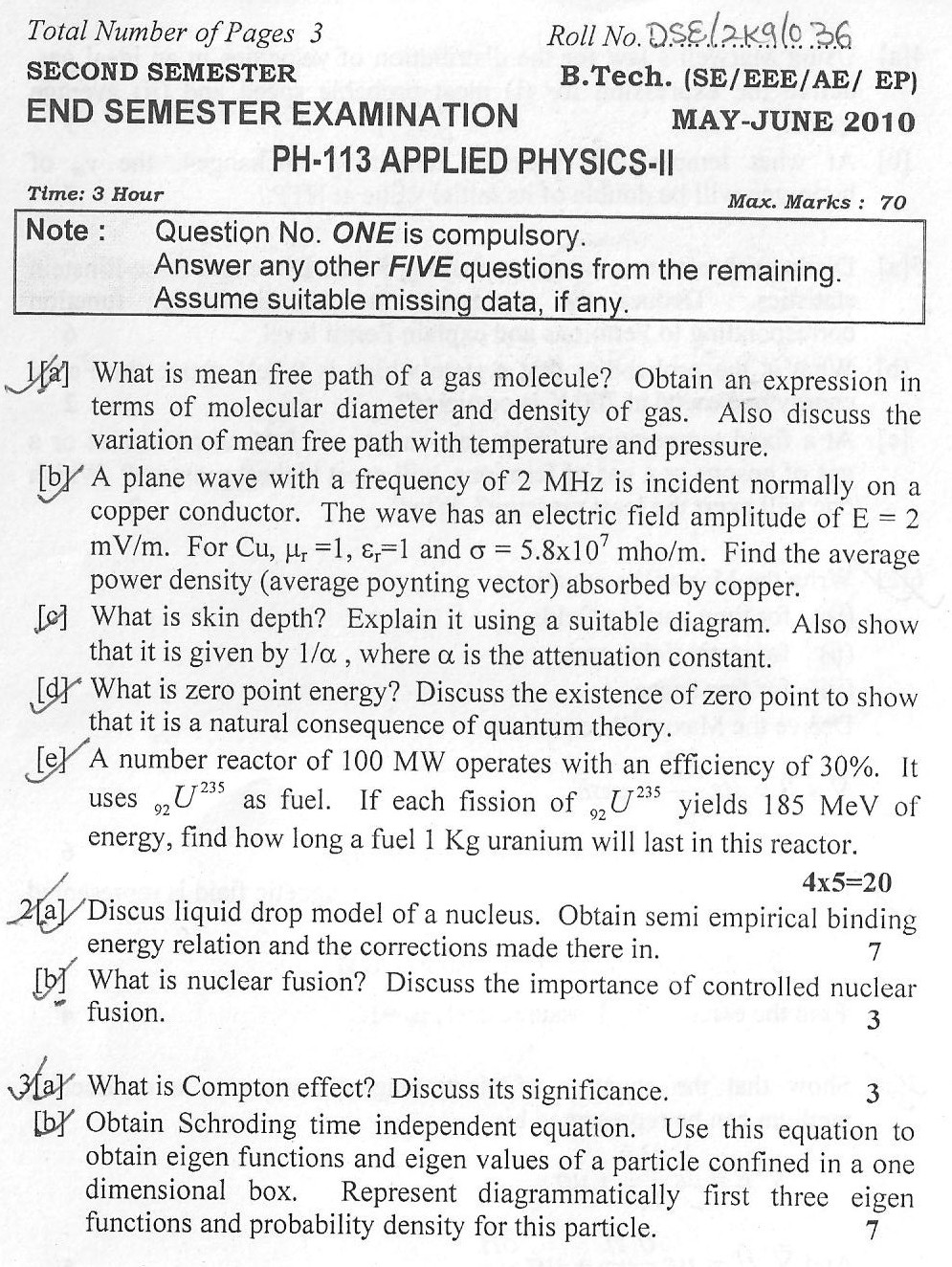 DTU Question Papers 2010 – 2 Semester - End Sem - PH-113