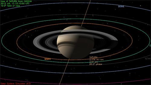 Saturno visto dalla Cassini - 13 luglio 2012