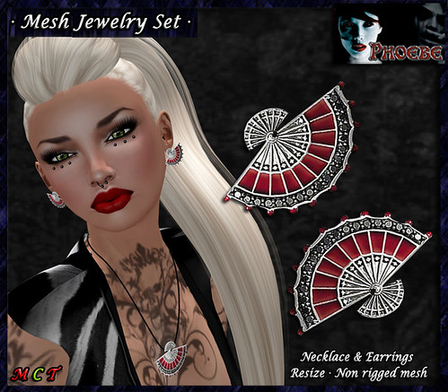 *P* Flamenco Fan MESH Jewelry Set ~Necklace& Earrings~