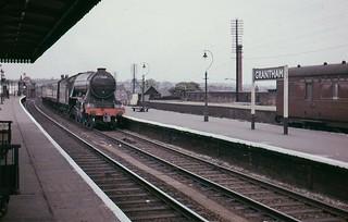 "BR A3 Class 4-6-2 60110 ""Robert The Devil"" on up express, Grantham, 1961."