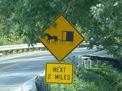 Señal de tráfico amish en el Condado de Lancaster