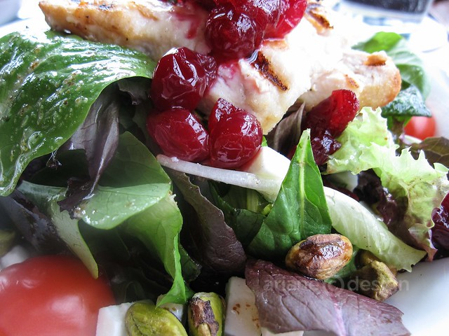 Ilia's Salad: mixed greens, chicken, cranberry chutney, feta, tomato, pistachio, honey-lime vinaigrette