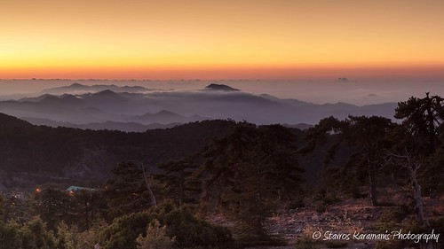sunrise cloud fog mist misty mountain mountaintop mountainsite morning tree depthfield depth canonphotography canonusers canon dslr t3i ef35350mmf3556lusm troodos cyprus panoramic pano
