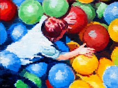 """""""Aerial View of Boy in Ball Pit"""" a large painting inspired by the City Museum, St. Louis, now on exhibit at ViVO Contemporary, also available at vivocontemporary.com/warren-keating #aerial #figurativeart #impressionism #artcollector #interiordesign"""