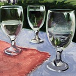 Still Life with 3 Water Glasses; oil on canvas, 12 x 16 in, 2016
