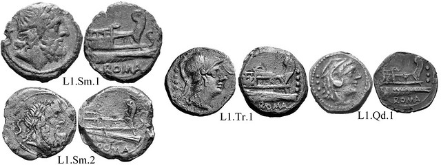 L1 Roman Republican Anonymous struck bronzes McCabe group L1, RRC 272. High relief narrow obverses. Peaked deck structures, gated area to left, rounded waves under prow. 15 gram As.