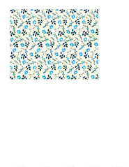 11a BOLD antique blue painted wallpaper flowers LARGE SCALE - A2 card size LANDSCAPE or HORIZONTAL