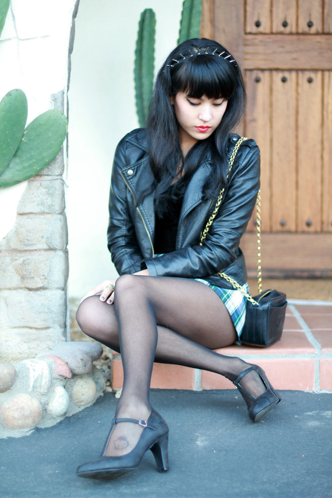Tarte Vintage plaid skirt skort at shoptarte.com, PU leather moto jacket, vintage Chanel quilted chain purse, t-strap mary janes, Peyton Spiked Studded headband at shoptarte.com