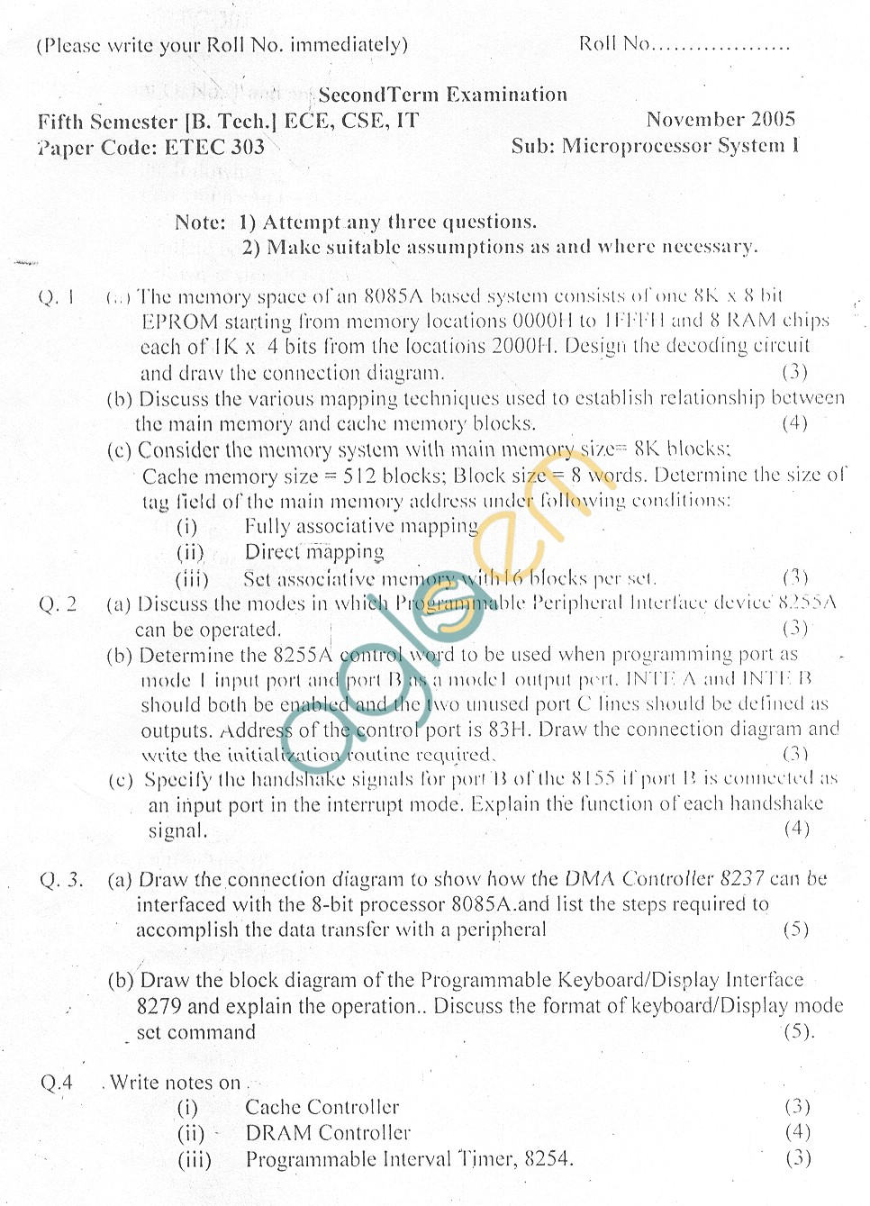 GGSIPU Question Papers Fifth Semester – end Term 2006 – ETEC-303