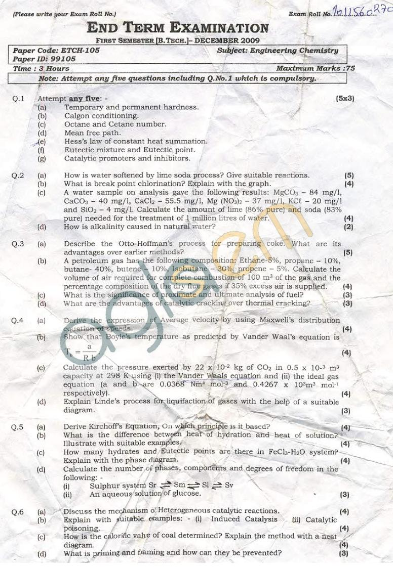 GGSIPU: Question Papers First Semester – end Term 2009 – ETCH-105