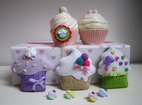 ♥♥♥ Cupcakes... by sweetfelt \ ideias em feltro