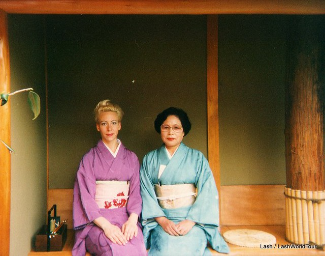 Lash in kimono with sensei, tea ceremony