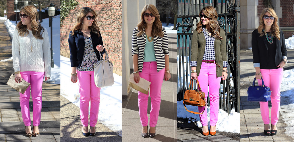 gap giveaway collage: 5 ways to wear pink jeans