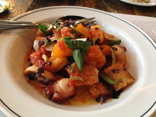 Octopus, mussel and bread salad