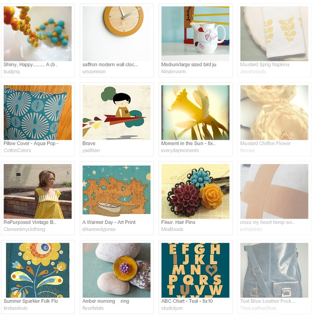mustard and teal... Etsy treasury curated by emma lamb