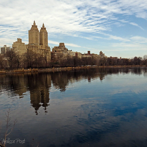 park sky cloud ny water reflections landscape cityscape centralpark manhattan towers reservoir westside